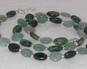 Green Australian Jasper & Aventurine with Sterling Silver Necklace - N13