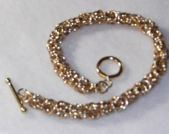 14K Gold Filled Byzantine Chainmaille Toggle Bracelet - CMB2