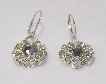 Elegant Chainmail Sterling Silver Earrings with Swarovski Crystals - CME3