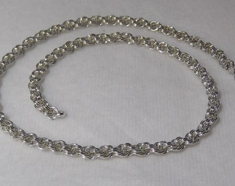 Sterling Silver Double Spiral Rope Necklace; Chainmaille Necklace - CMN1