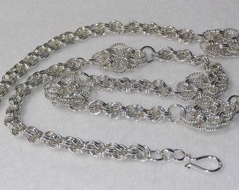 Chainmaille Necklace - Sterling Silver Celtic Knots with Spiral Rope - CMN2