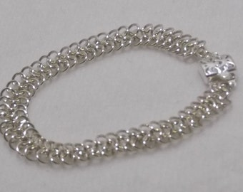 Lightweight and Slinky Sterling Silver Chainmaille Bracelet - CMB9