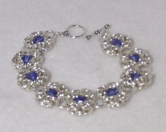 Elegant Chainmaille Sterling Silver Bracelet with Blue Sapphire Swarovski Crystals - CMB10