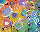 """ORIGINAL Abstract Floral Painting Colorful Circles Whimsical Canvas 20"""" x 20"""""""