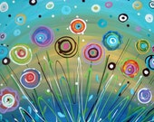 """Flower Painting Abstract Aqua Teal Yellow Bright Colors Art Canvas Contemporary 16"""" x 20"""""""