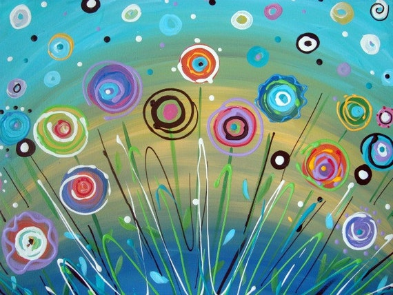 Colorful Flowers Painting Flower Painting Abstract Aqua