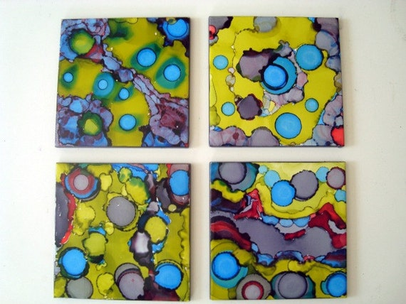 "Abstract Gray Aqua Citron Yellow Set of 4 Bold Colored Tile Paintings, Each measures 6"" x 6""."