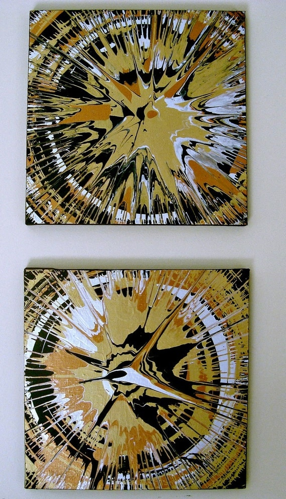 "Abstract Painting Spin Art Gold Black Silver 2 Panel Vintage Style Original Canvas 12"" x 24"""