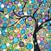 "Abstract Tree of Life Painting Circles Jewel Tone Landscape Original Acrylic Canvas 18"" x 24"""