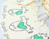 Vintage Style  Baby Clothing  Shower Favors, Thank You Tags - Pale Green