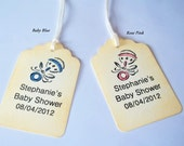 10 Personalized Baby Shower Favor Tags-Boy or Girl-Vintage Rattle