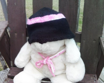 Black Knit Cap with Pink & White Ties