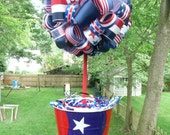 4th of July/Patriotic/Party/Centerpiece/Decoration/Red/White/Blue/Stars and Stripes Ribbon Topiary