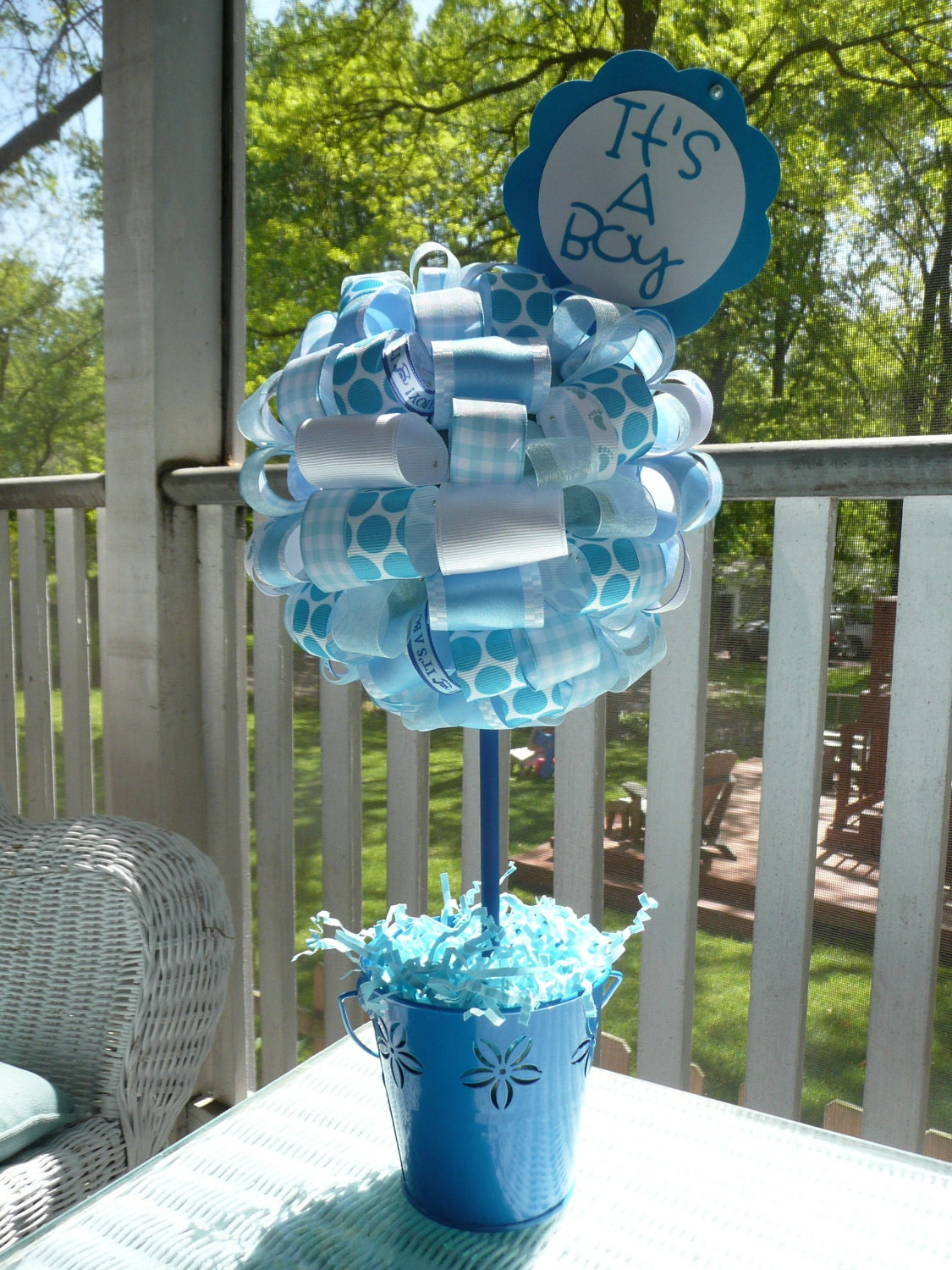 it 39 s a boy baby blue and white ribbon centerpiece topiary