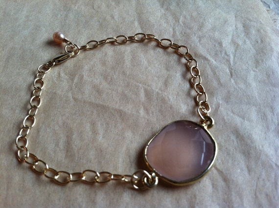 Lovely Light Pink Chalcedony Vermeil Bracelet