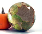 Decorated Gourd Bowl, Green Gingko Leaf Bowl