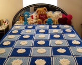 Crocheted Granny Square With Flower, Afghan