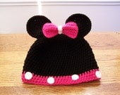 """Crocheted Minnie Mouse Hat With Pink Bow  size 19""""  . 1 - 3 years"""