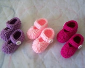 Crocheted Baby Shoes/ Slippers Set Of 3 Pairs
