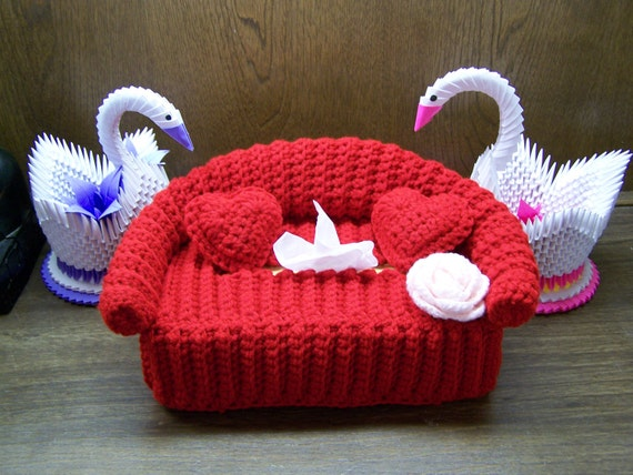 Items Similar To Red Couch Crochet Tissue Box Cover With