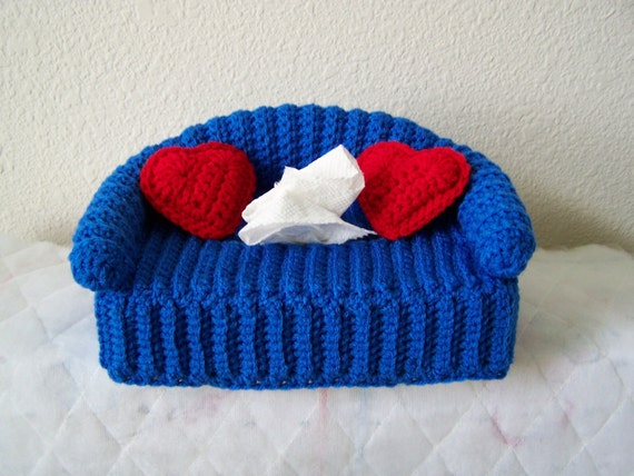 Items Similar To Crocheted Tissue Box Cover With Pillows