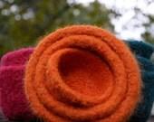Autumns Orange Felted Nesting Bowls Set of Three Home Decor
