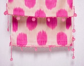 crochet ikat scarf with bead-lace ends - Turkish OYA - 12.60'' x 78.74'' - FAST worldwide shipment with UPS - 134