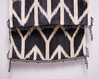 crochet ikat scarf with bead-lace ends - Turkish OYA - 16.14'' x 78.74'' - FAST worldwide shipment with UPS - 125