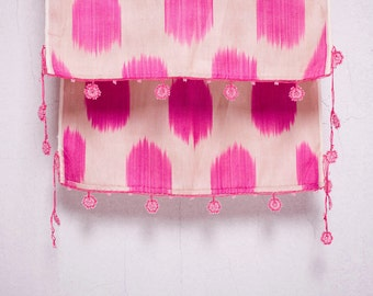 crochet ikat scarf with bead-lace ends - Turkish OYA - 12.60'' x 78.74'' - FAST worldwide shipment with UPS - 128