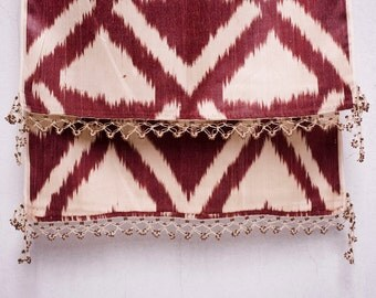 crochet ikat scarf with bead-lace ends - Turkish OYA - 15.35'' x 78.74'' - FAST worldwide shipment with UPS - 137