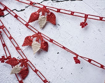 """Crochet necklace - turkish lace - needle lace - oya necklace - 120.47"""" - FAST worldwide shipment with UPS - fatma-015"""