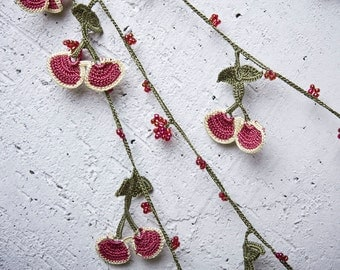 "Crochet necklace - turkish lace - needle lace - oya necklace - 124.41"" - FAST worldwide shipment with UPS - halime-008"
