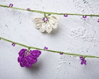 """Crochet necklace - turkish lace - needle lace - oya necklace - 134.65"""" - FAST worldwide shipment with UPS - halime-012"""