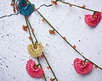 "Crochet neckalce - turkish lace - needle lace - oya necklace - 169.29"" - FAST worldwide shipment with UPS - leman-002"