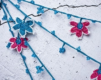 "Crochet neckalce - turkish lace - needle lace - oya necklace - 135.43"" - FAST worldwide shipment with UPS - leman-003"