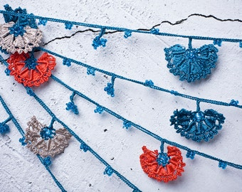 "Crochet neckalce - turkish lace - needle lace - oya necklace - 133.86"" - FAST worldwide shipment with UPS - leman-006"