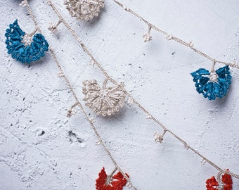 "Crochet neckalce - turkish lace - needle lace - oya necklace - 124.80"" - FAST worldwide shipment with UPS - leman-008"