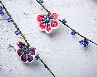 "Crochet necklace - turkish lace - needle lace - oya necklace - 129.92"" - FAST worldwide shipment with UPS - mekiye-001"