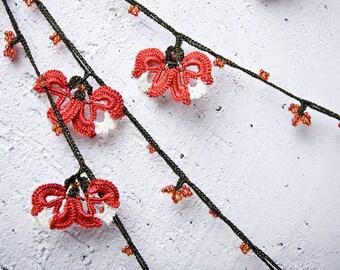 "Crochet necklace - turkish lace - needle lace - oya necklace - 132.67"" - FAST worldwide shipment with UPS - mekiye-007"