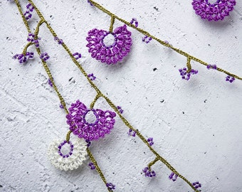 "Crochet necklace - turkish lace - needle lace - oya necklace - 131.50"" - FAST worldwide shipment with UPS - saime-012"
