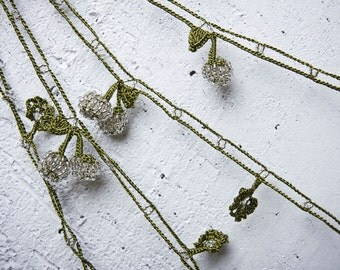 "Crochet necklace - turkish lace - needle lace - oya necklace - 170.47"" - FAST worldwide shipment with UPS - saime-019"