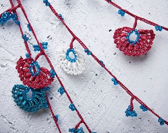 "Crochet necklace - turkish lace - needle lace - oya necklace - 125.98"" - FAST worldwide shipment with UPS - saime-025"