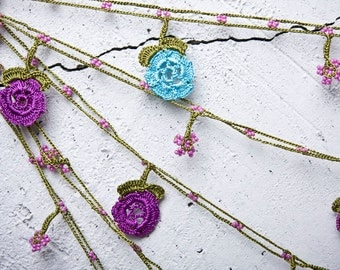 "Crochet necklace -  turkish lace - needle lace - oya necklace - 173.23"" - FAST worldwide shipment with UPS - bahar-017"