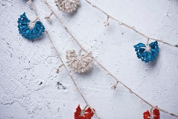 "Crochet neckalce - turkish lace - needle lace - oya necklace - 124.80"" - FAST worldwide shipment with UPS - leman-008"