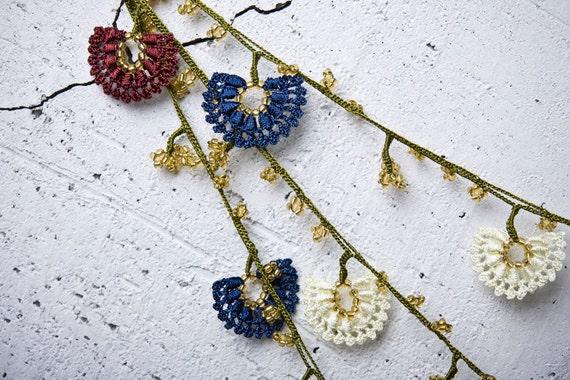 "111.02"" Necklace Crochet Necklace Turkish Lace Needle Lace Oya Necklace Turkish Oya - FAST worldwide shipment with UPS - saime-010"