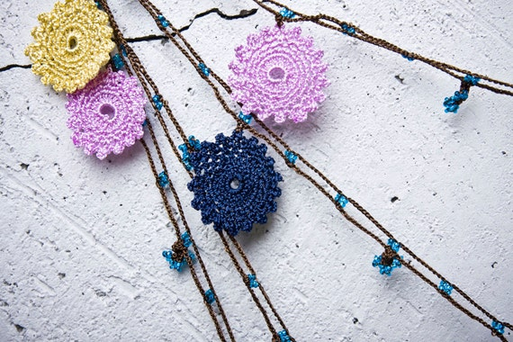 """Crochet necklace - turkish lace - needle lace - oya necklace - 142.13"""" - FAST worldwide shipment with UPS - bahar-009"""