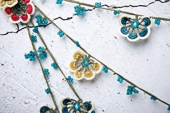 "turkish lace - needle lace - crochet - oya necklace -135.83"" - FAST worldwide shipment with UPS - mekiye-003"