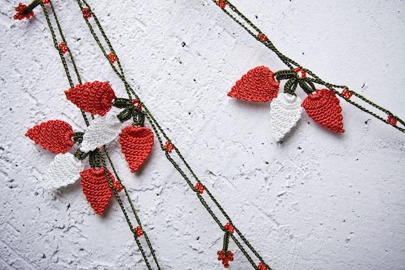 "turkish lace - needle lace - crochet - oya necklace - 141.73"" - FAST worldwide shipment with UPS - bahar-005"