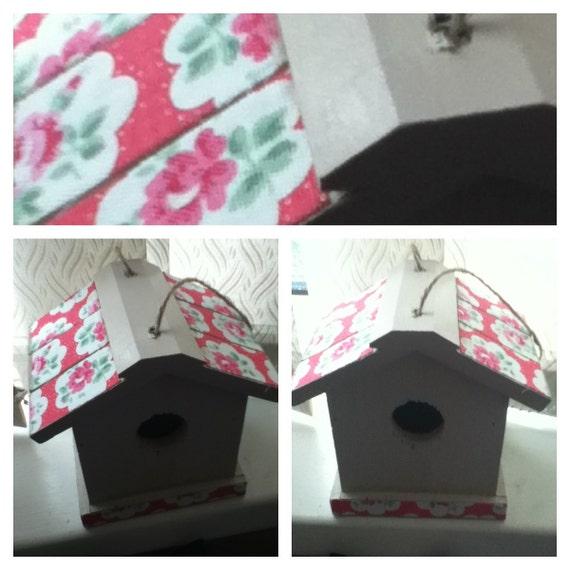 Shabby chic - Hand painted Bird House - Cath Kidston Fabric roof - Bird box