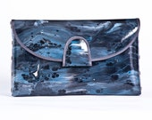 HAND MADE- OOAK- Small clutch random- black, cream, blue, gray.